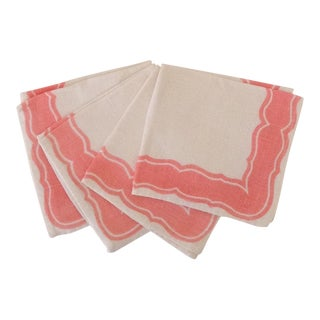 Vintage Pink & White Linen Cocktail Napkins - Set of 4