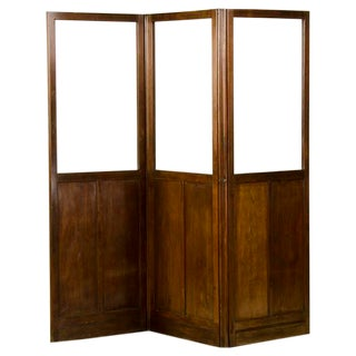 Antique English Mahogany and Glass Folding Room Screen circa 1860