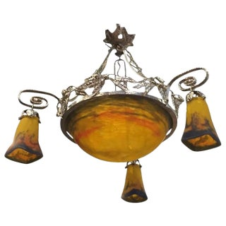 Muller Frères Signed French Art Deco Multi Color Chandelier
