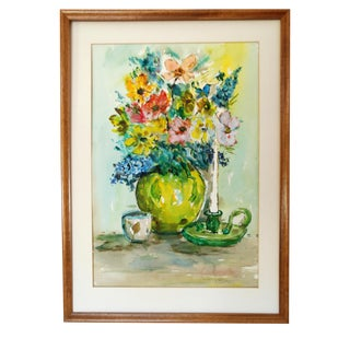 Vintage Original Floral Still Life Watercolor Painting