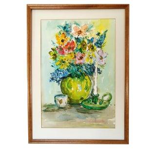 Vintage Original Flowers Still Life Watercolor Painting