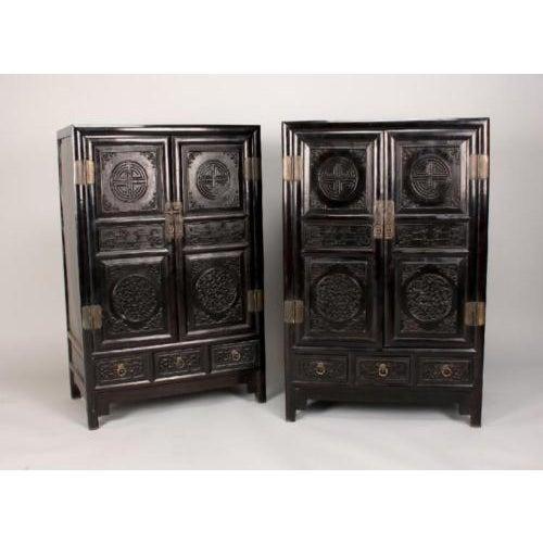 Antique Chinese Zitan Cabinets - A Pair - Image 3 of 11