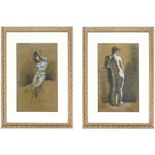 1750s Antique Drawings Attributed to Francois Boucher - a Pair