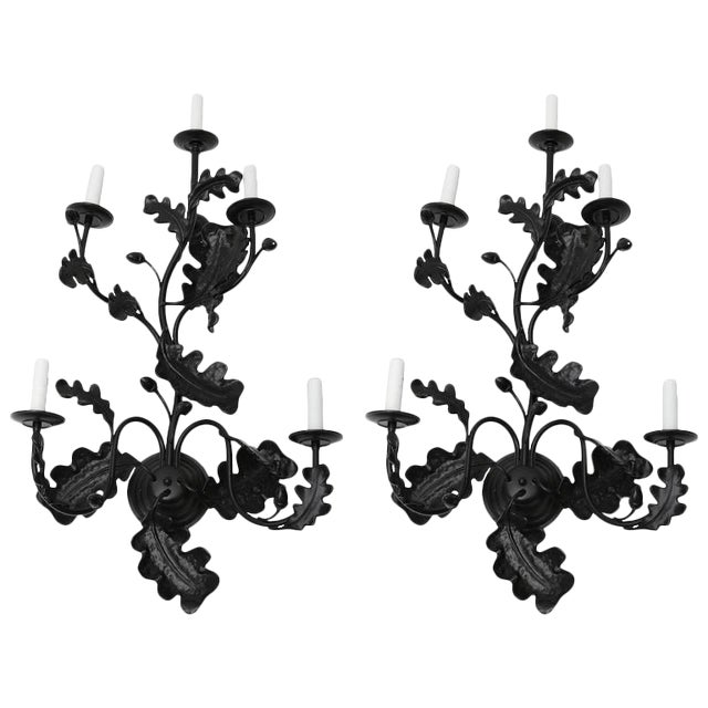 Pair of Five-Light Wall Sconces in Black with Acorn Leaf Motif - Image 1 of 9