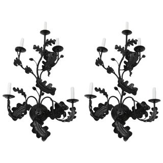 Pair of Five-Light Wall Sconces in Black with Acorn Leaf Motif