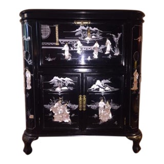 Vintage Asian Chinoiserie Black Lacquer Bar Cabinet