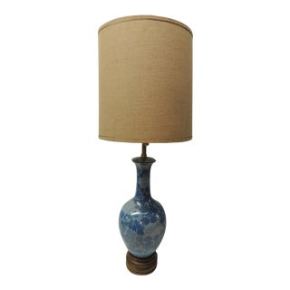 Vintage Tall Turquoise 1960's Hand-Painted Porcelain Blue Lamp