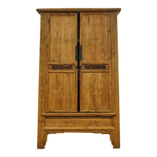 Grand Antique Pine Carved Armoire
