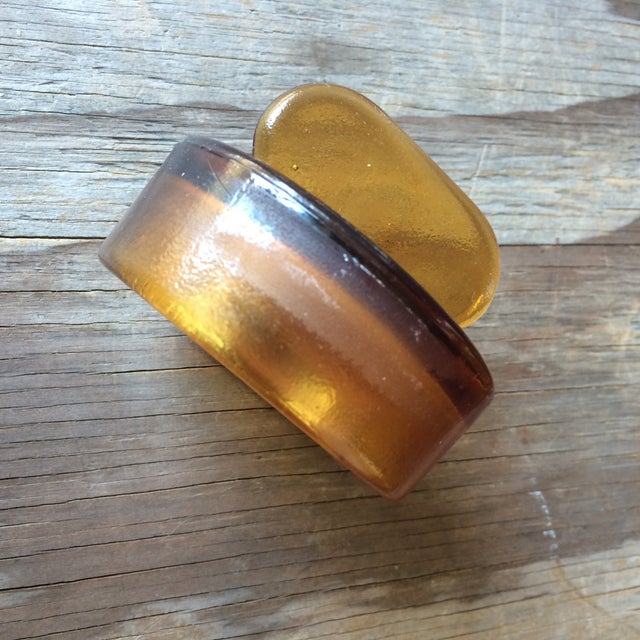 Image of Vintage Amber Glass Storage Jars - A Pair