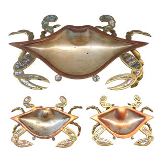 Los Castillos Abalone & Metal Crab Bowl w/ Side Dishes - Set of 3