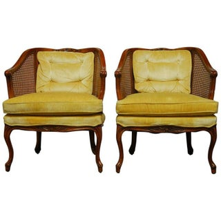 Mid-Century Cane Barrel Back Armchairs - A Pair
