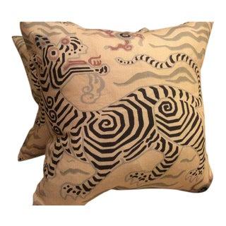 "Clarence House Pillows in Tibet Dragon ""Antique"" Linen - a Pair"