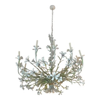 Italianate Painted Floral Tole Chandelier