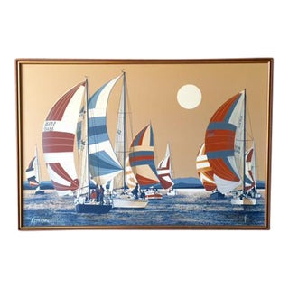 Vintage Large Sail Boat Painting by Letterman