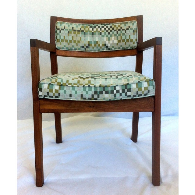 Mid-Century Walnut Upholstered Armchairs - A Pair - Image 3 of 7