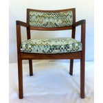 Image of Mid-Century Walnut Upholstered Armchairs - A Pair