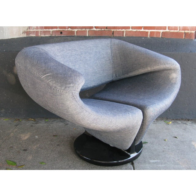 Pierre Paulin Style Ribbon Chair in Light Denim - Image 2 of 7