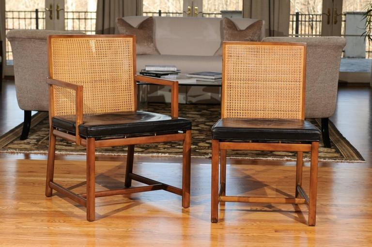 Rare Surviving Set Of Six Coveted Cane Dining Chairs By Michael Taylor For  Baker   Image