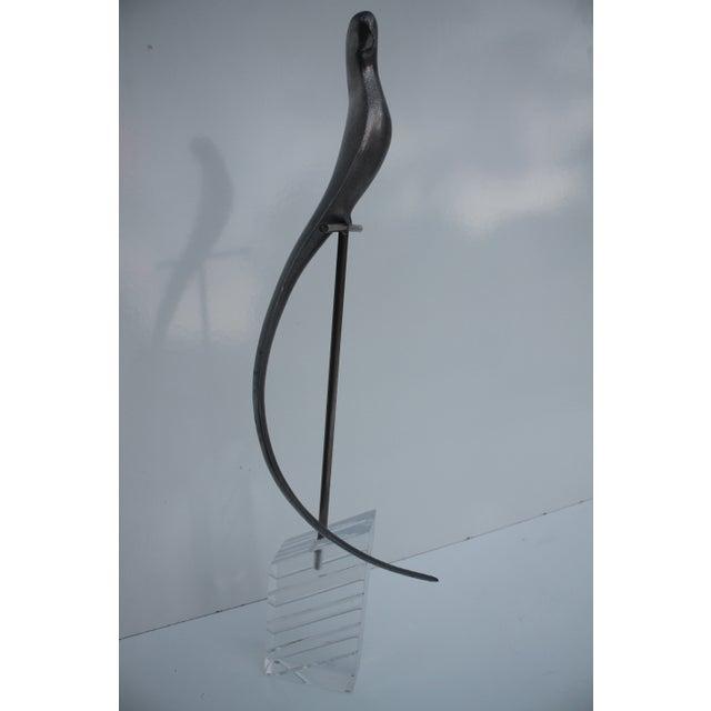 Image of Vintage Long Tail Bird Metal Sculpture