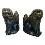 Image of Vintage Green & Gold Ceramic Foo Dogs - A Pair