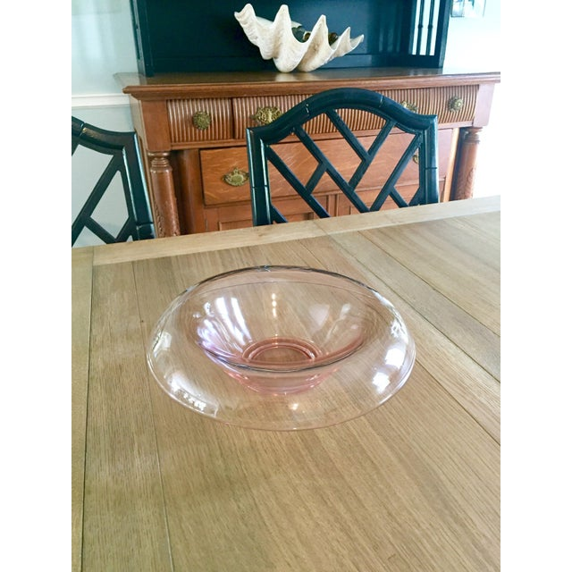 Vintage Modern Pink Glass Serving Bowl - Image 8 of 9