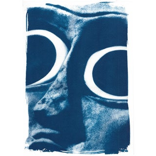 Limited Serie, Cyanotype Print of a Big Eyed Sumerian Sculpture (Detail of One of the Most Stunning Sumerian Sculpture)