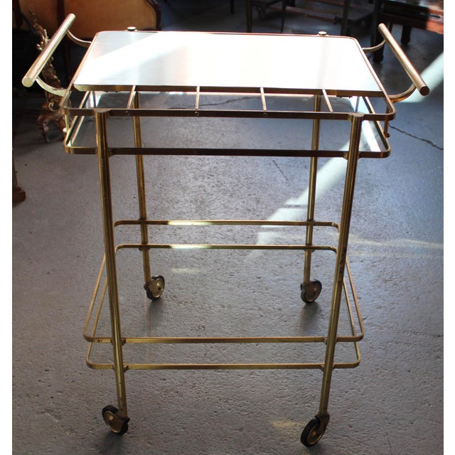 Vintage Mid-Century Brass and Glass Bar Cart - Image 3 of 9