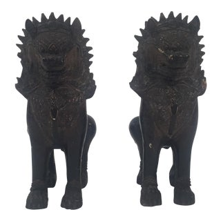 Antique Foo Dog Sculpture Bookends