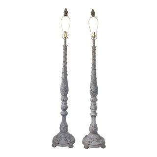 Gray Patina Floor Lamps - A Pair