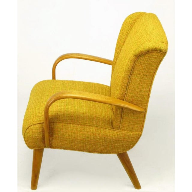 Circa 1940s Maple Wood & Saffron Upholstered Lounge Chair - Image 4 of 10