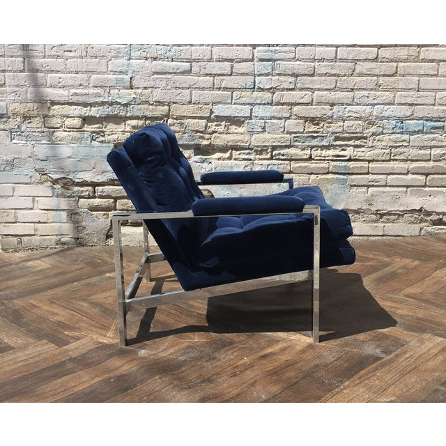 Milo Baughman Blue Velvet Club Chair - Image 4 of 5