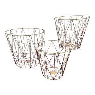 Hollywood Regency Brass Plated Baskets - Set of 3