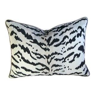 Silver & Black Scalamandre Le Tigre Pillow