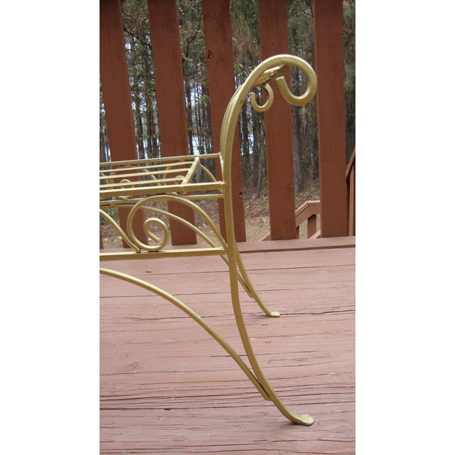Metal French Art Deco Scroll Bench in Gold Tone - Image 6 of 11