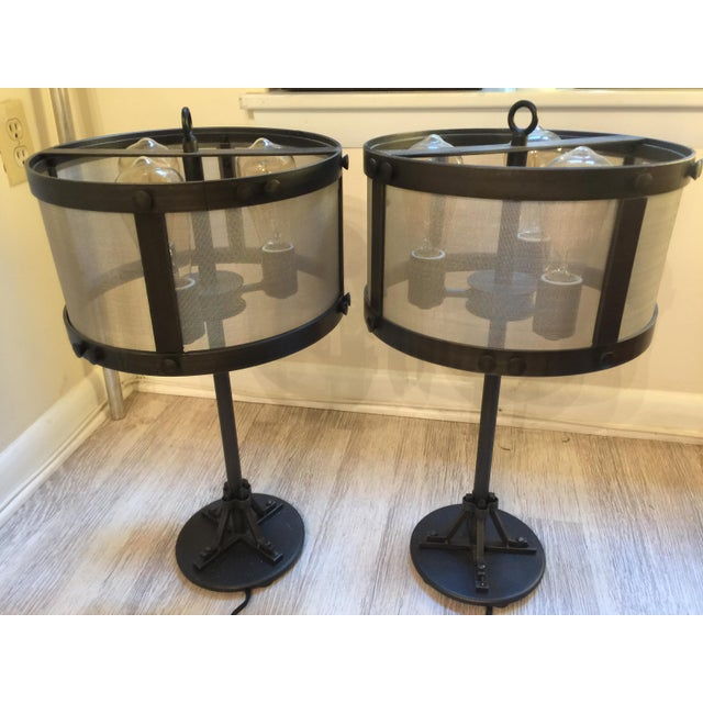 Restoration Hardware Riveted Mesh Accent Lamps A Pair