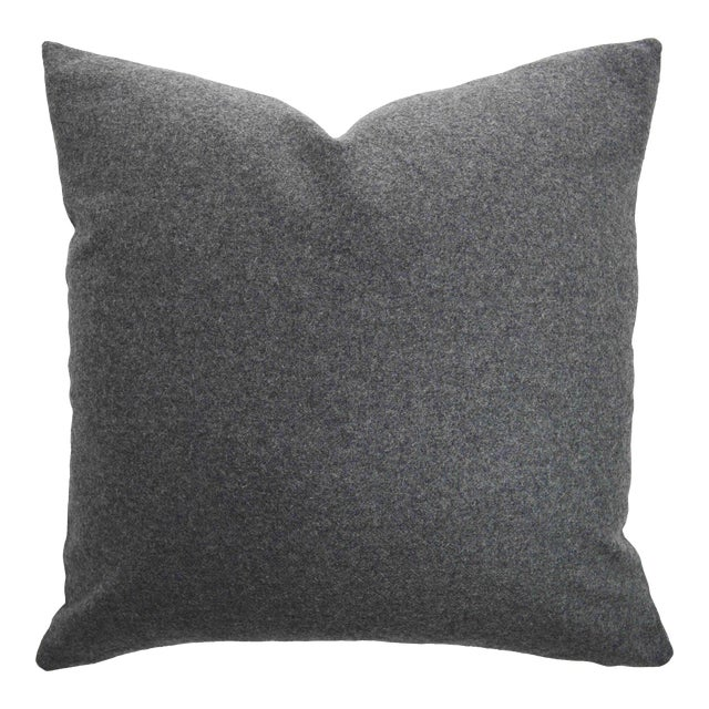 Italian Gray Sustainable Wool Pillow - Image 1 of 6