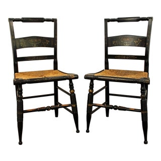 Vintage Nichols and Stone Stenciled Rush Seat Side Chairs- A Pair