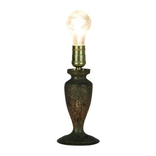 Floral Etched Silverplate Lamp