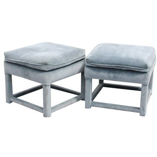 Blue Velvet Upholstered Parsons Ottomans - A Pair