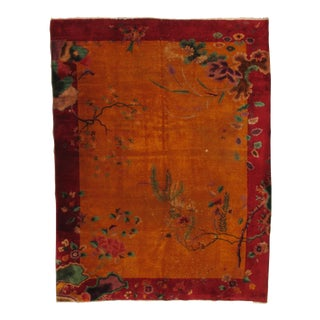 Antique Chinese Nickle Hand-Knotted Rug - 8′6″ × 11′1″