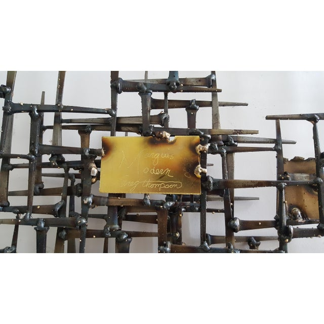 Abstract Brutalist Metal Wall Sculpture of Bronze and Brass - Image 7 of 8