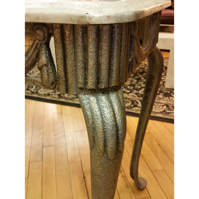 Tesselated Stone & Cast Iron Console Table - Image 5 of 6