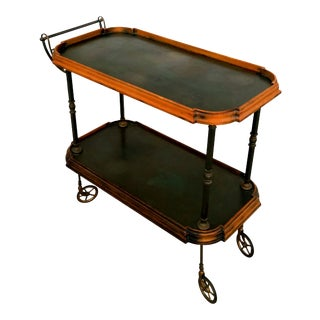1920s Antique Oxidized Brass Serving Cart