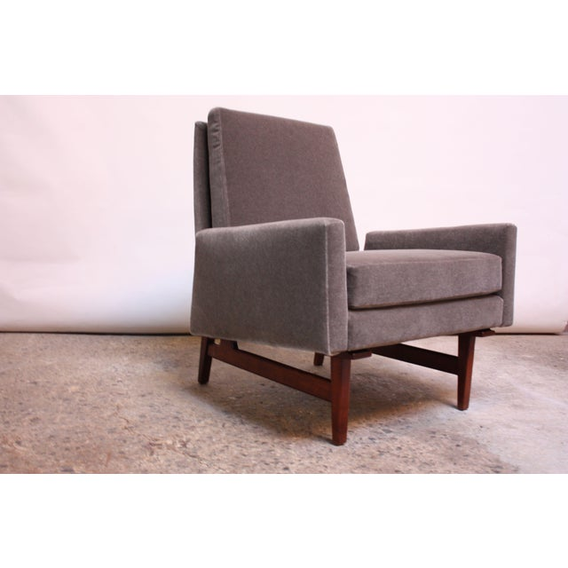Early Jens Risom Walnut and Mohair Lounge Chair - Image 5 of 11