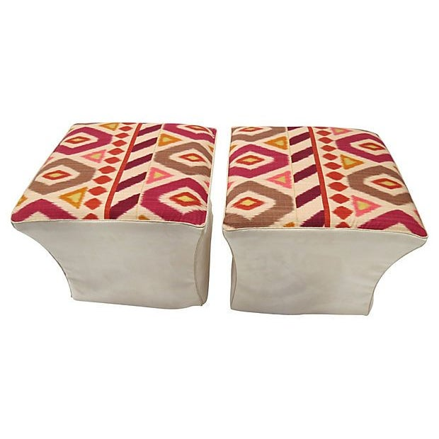 Brunschwig & Fils Ikat Ottomans - A Pair - Image 1 of 2
