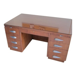 1940 Vintage Mid-Century Pedestal Desk