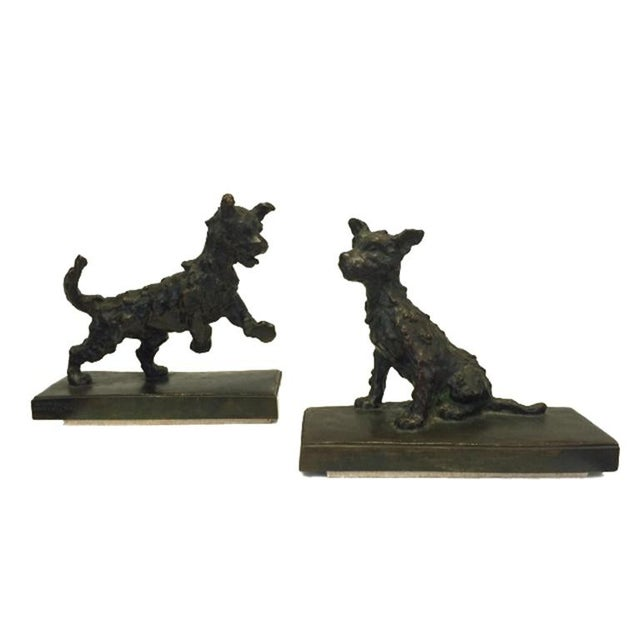 Bronze Terrier Dog Bookends - A Pair - Image 2 of 6