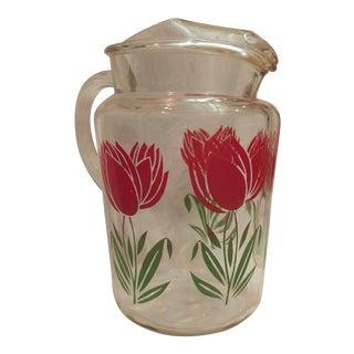 Vintage Stuart Tulip Motif Glass Pitcher