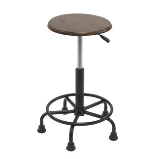 Retro Steel & Wood Adjustable Stool
