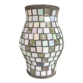 Silver & White Glass Mosaic Hurricane